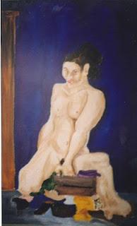 Desnudo femenino al oleo sobre carton autor Jorge Marín