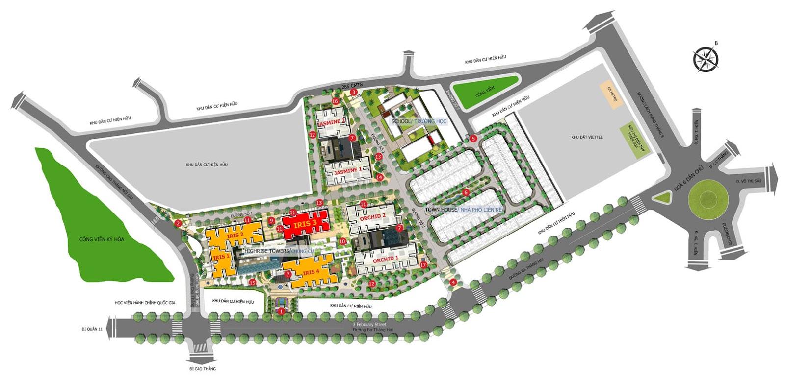 Vị trí tòa nhà Iris 3 - Hado Centrosa Garden
