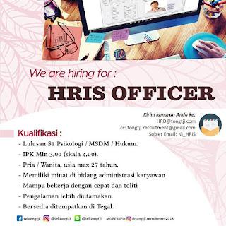 Info Lowongan Kerja HRIS Officer di PT. Tongtji Tegal khususnya bagi anda seorang laki laki dan perempuan dengan ijazah minimal S1 jurusan Psikologi/MSDM/Hukum 2018 Tegal dan sekitarnya. terbaru terupdate november 2018