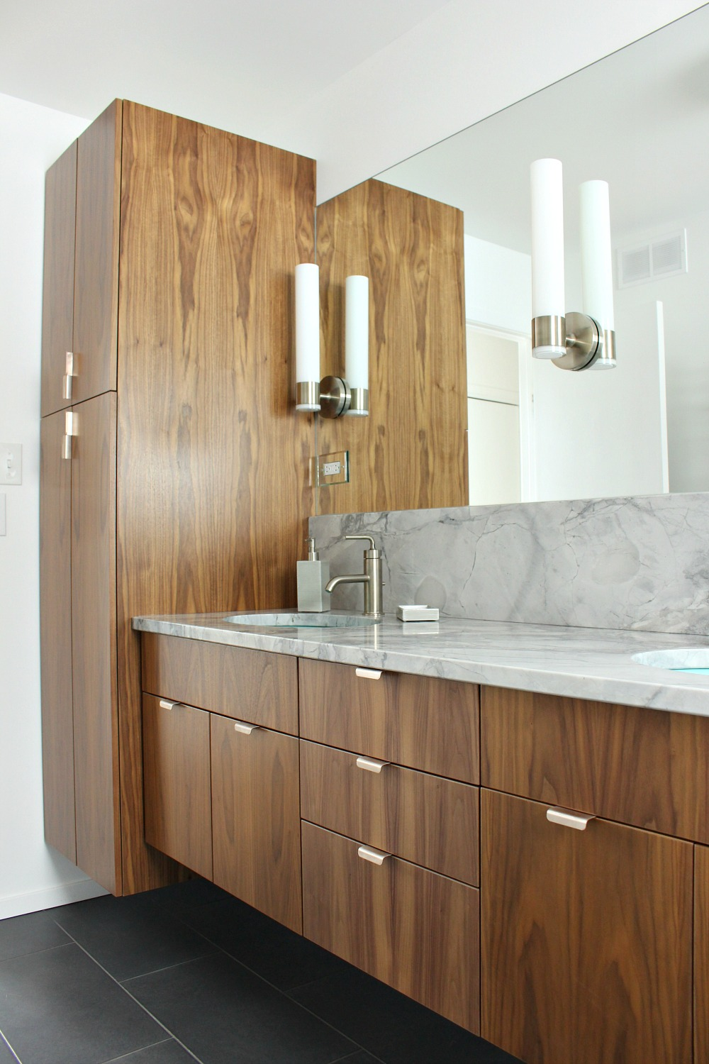 Floating Walnut Cabinetry in Bathroom Reno