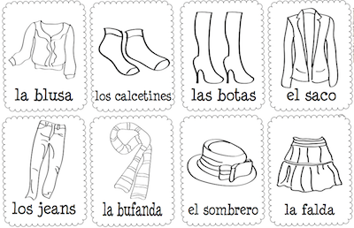 List of clothes in Spanish