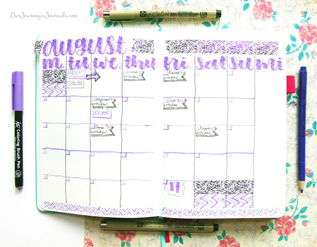 August 2018 bullet journal monthly log