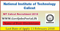 National Institute of Technology Calicut Recruitment 2018 – Electricians