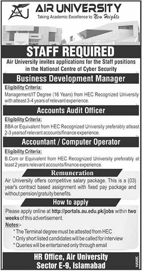 Jobs In Air University Islamabad Latest Jobs Apply Online