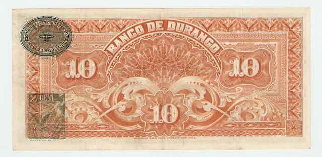 Billetes de México 10 Pesos Banco de Durango