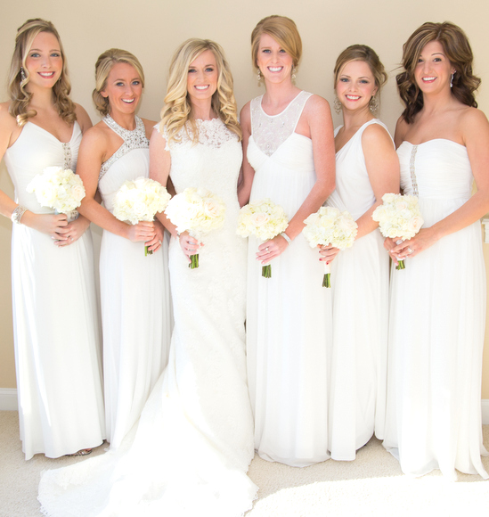 all white wedding party