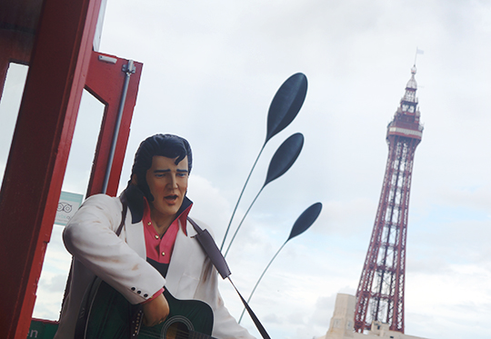 contemporary photography, urban scene, Blackpool, Elvis, seaside, Blackpool Tower, travel, England, UK, photo, Sam Freek,