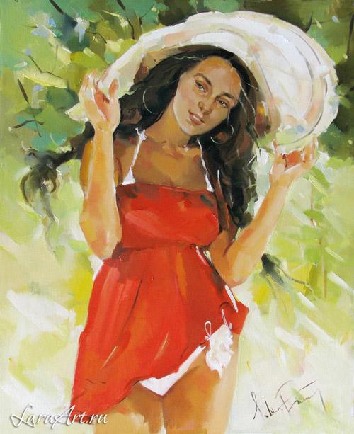 Девушка в соломенной шляпе, картина в стиле импрессионизм