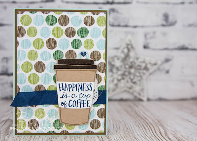 Some Days Happiness is a cup of coffee and a sleeping puppy!  Buy what you need to make this card here