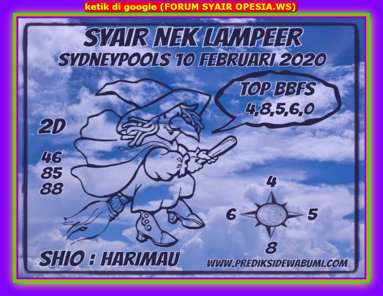Kode syair Sydney Senin 10 Februari 2020 95