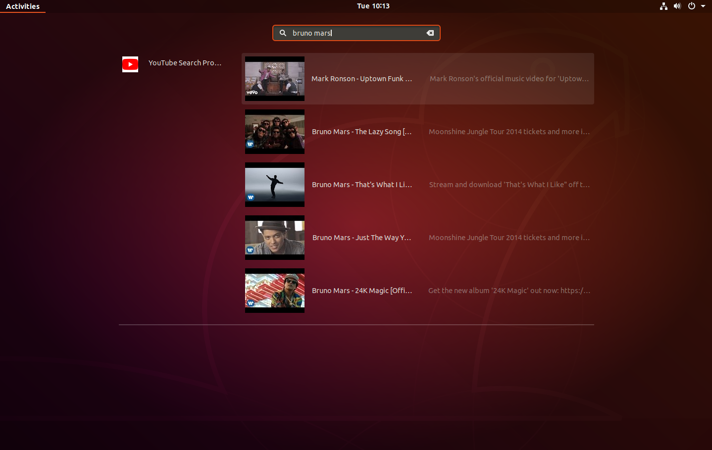 Gnome Shell YouTube Search Provider Lets You Play YouTube Videos In