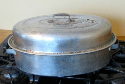 old aluminum roasting pan that my family uses for making chex mix