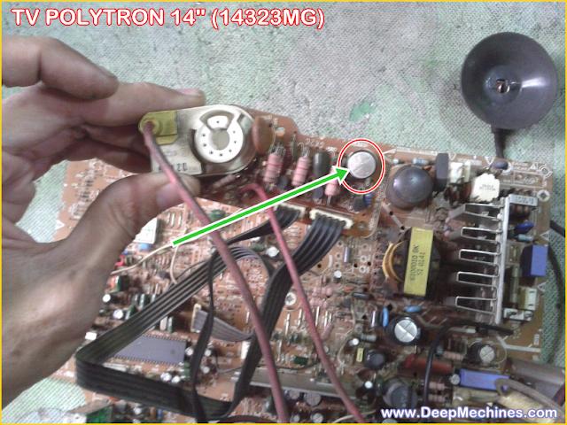 Perbaikan TV Polytron  14-Inc (14323MG) pada Layar muncul Blanking
