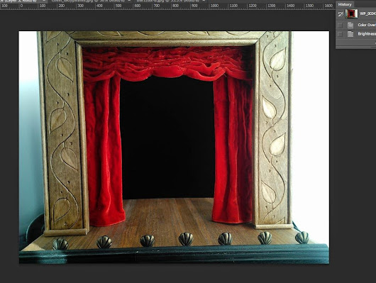 Trying Out Concepts in Photoshop Prior to Building: Miniature Theater Set/Props for Merrikin Designs/Felt Artistic Creations Photo Background