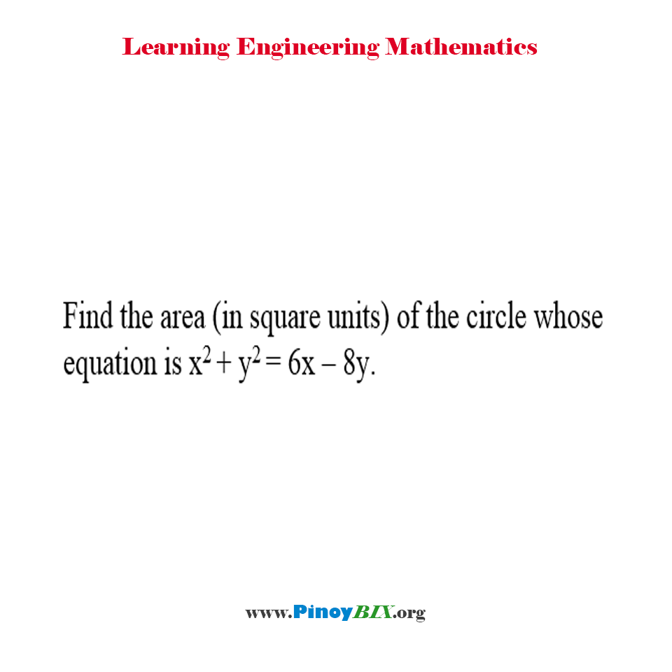 Find the area of the circle whose equation is x^2 + y^2 = 6x – 8y.