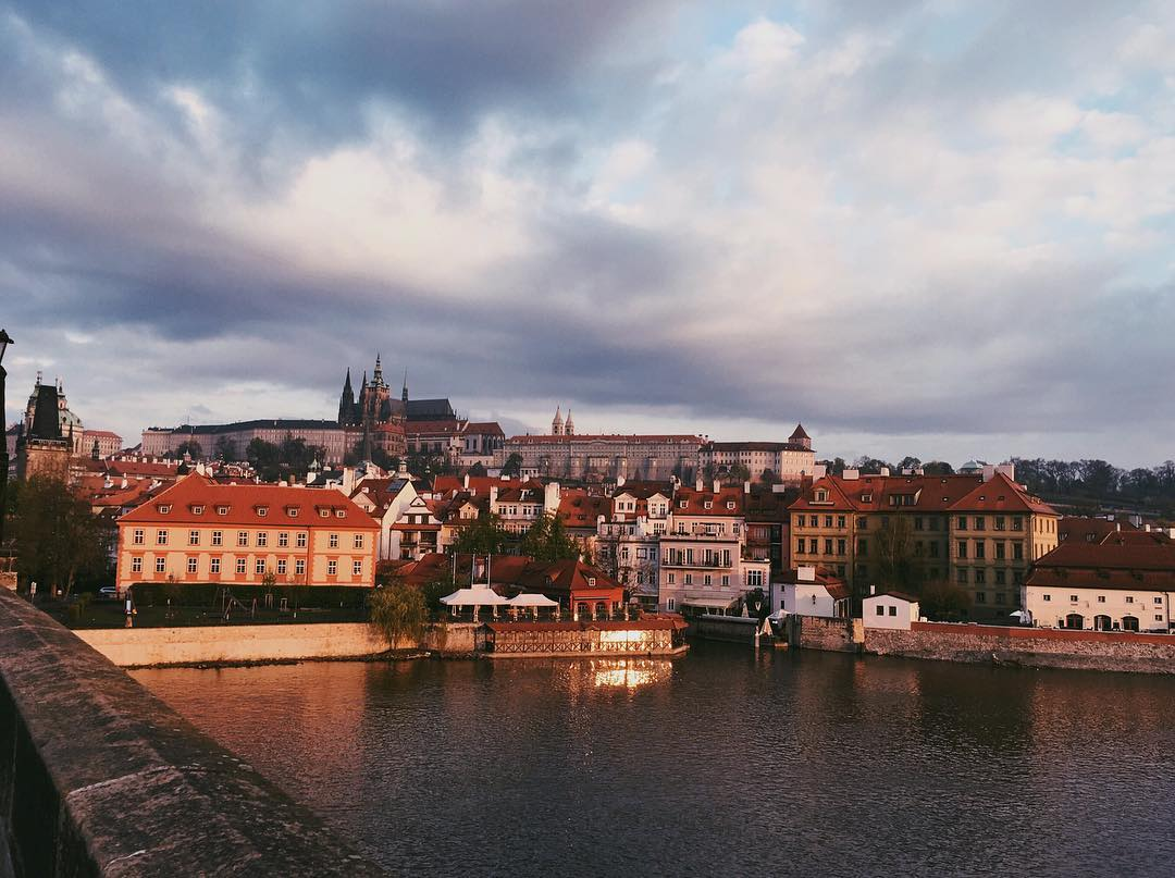 View from Charles Bridge to Prague Castle at Sunrise