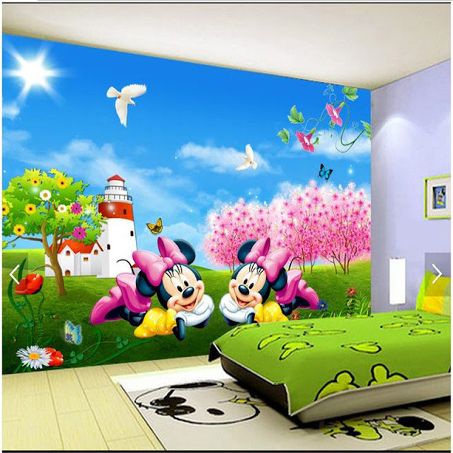 Minnie and mickey mouse wall mural 3d wallpaper Cute cartoon childrens bedroom