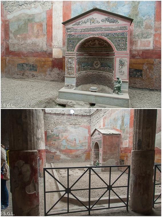 Casa de la fuente pequeña Pompeya, las ruinas de una ciudad romana