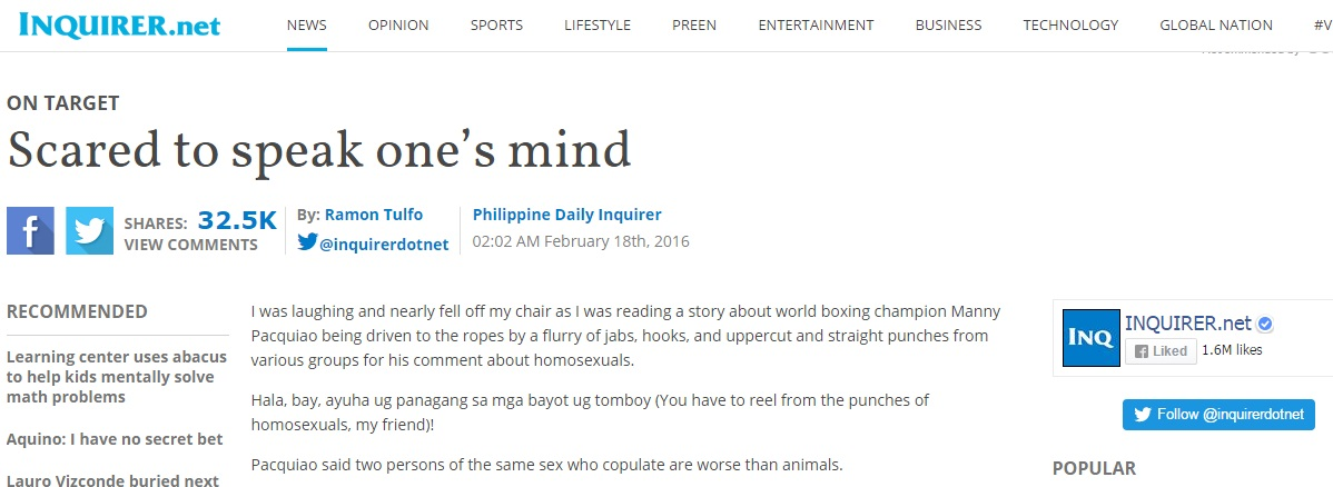 A Reaction to Scared to speak one's mind by Ramon Tulfo of the Philippine Daily Inquirer