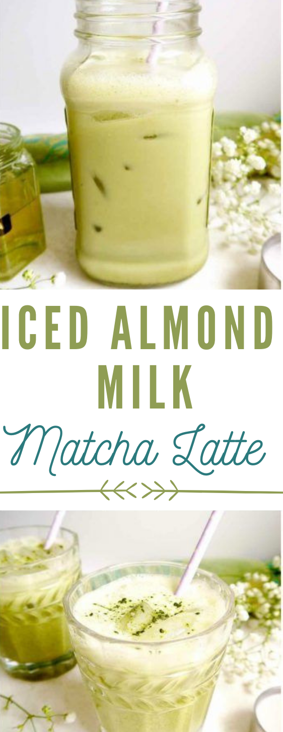 Iced Almond Milk Matcha Latte #milk #drink