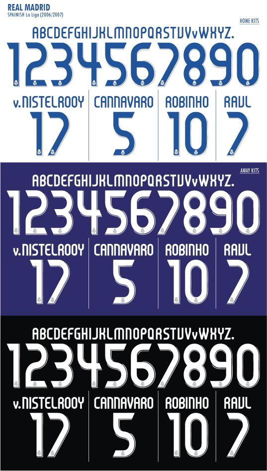hot sale online 50afa c0656 Real Madrid 06 07 Jersey Font