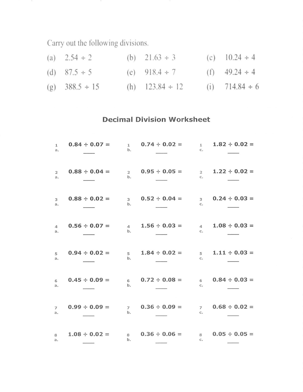 Dividing Decimals 6th Grade Math Worksheets   Printable Worksheets and  Activities for Teachers [ 1600 x 1237 Pixel ]