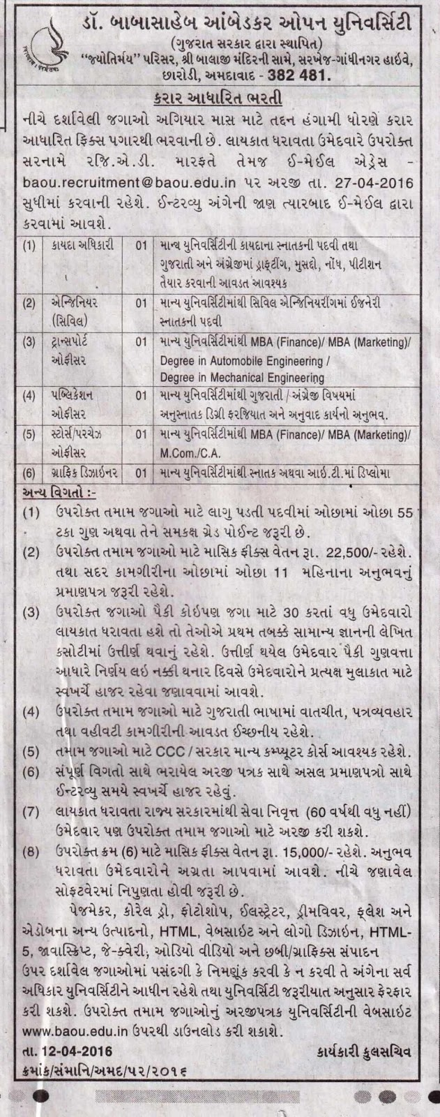 Dr Babasaheb Ambedkar Open University Baou Recruitment