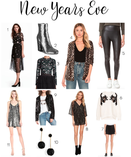 5d5f477730b4 Sequined Mesh Dress 2. Haedyn Sequined High Block Heel Booties 3. Sequined  Cropped Top 4. Cross Fire Sequin Blazer 5. Faux Leather Leggings 6.