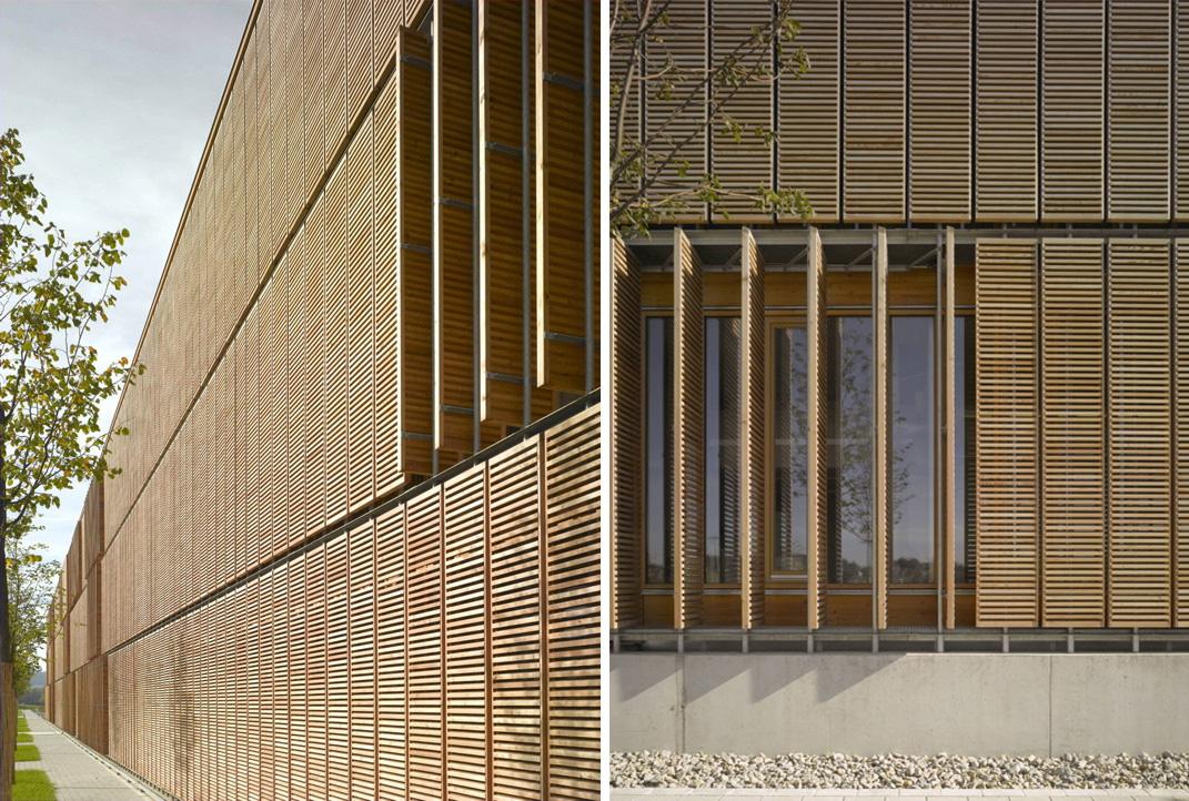 Celos as m viles de madera en fachada espacios en madera - Paneles de madera para exterior ...