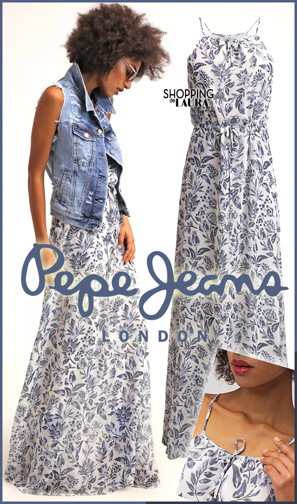 Blanche Pepe Marine Fleurs Jeans Imprimé Longue Robe ZAq5Ux
