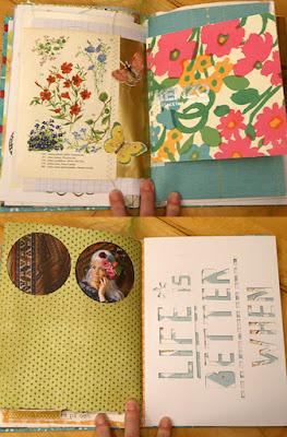 Farverige opslag fra udklip af bøger og blade