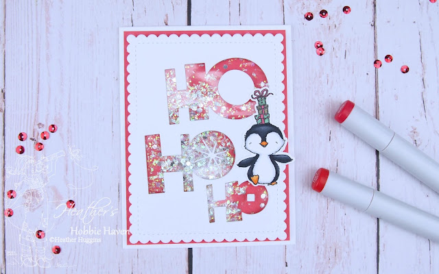 Heather's Hobbie Haven - Sweet Holiday Penguins - Ho Ho Ho Shaker Card