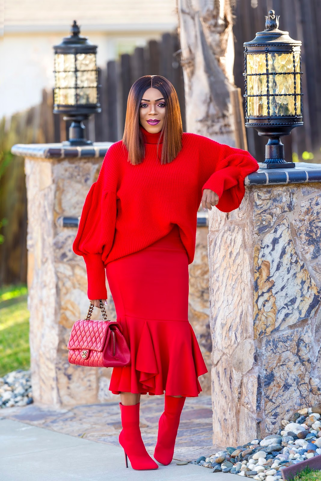 All Red Winter Look