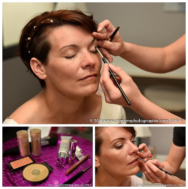 reportage photos maquillage de la mariée, chez l'estéticienne