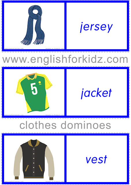 Printable clothes and accessories domino game for ESL students