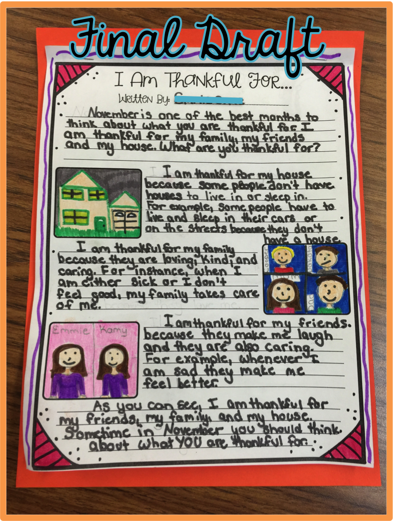 upper elementary snapshots thanksgiving writing what i am i was so pleased to about the things they chose to write about i am almost done reading them and i haven t one that mentions video games