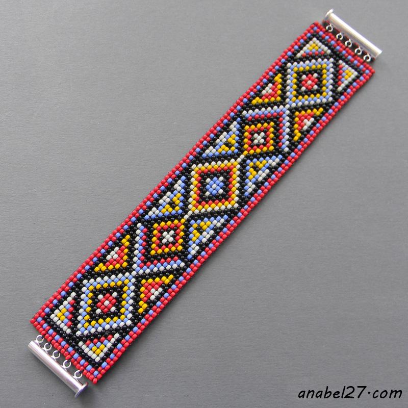 этнические украшения из бисера браслеты handmade купить