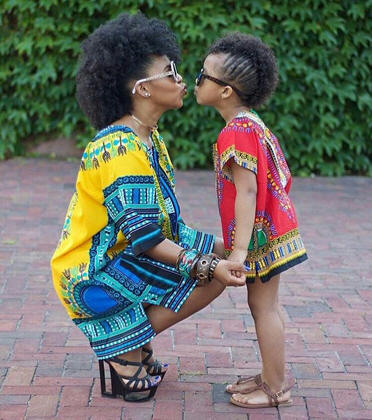 Dressing des 4 Saisons African style Tunique Dashiki jaune rouge yellow red Mother Daughter Concours