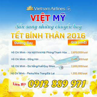 Gia ve may bay tet 2016 Vietnam Airlines