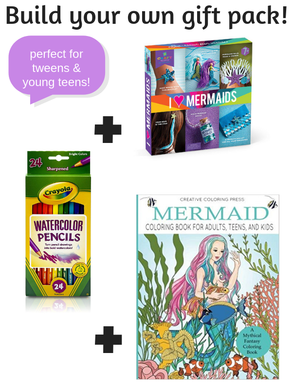 Need Christmas gift ideas for girls that love mermaids? These creative gifts for tween and young teen girls will help them make awesome mermaid DIY projects, mermaid crafts and coloring like a boss! #creativegreenchristmas #creativegreenliving #tweens #youngteens #tweengifts #teengifts #christmasgiftideas #giftguide #mermaids #mermaidcrafts