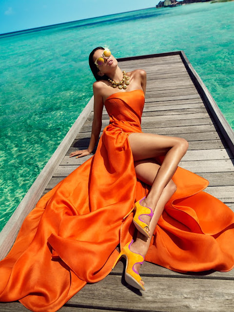 Sports Illustrated Swimsuit , Model, @ Raica Oliveira Fronts 'Orange Crush' In Luis Monteiro Images For Vogue India