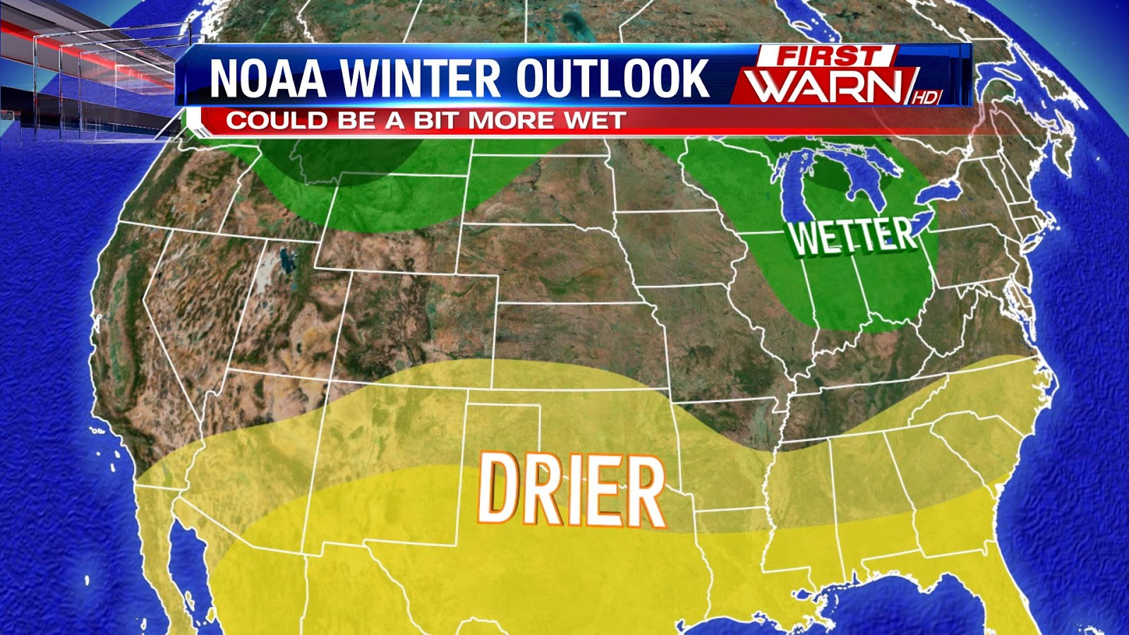 on the snowy precipitation side of things again areas in the west and south have a 30 50 probability of experiencing a drier winter