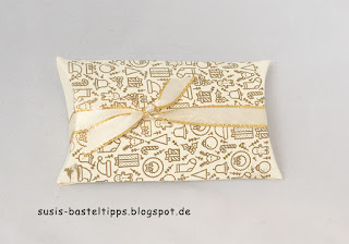DIY Designerpapier mit Stempelset Iconic Christmas von Stampin' Up! Demonstratorin in Coburg Susis Basteltipps weihnachtskarte geschenkverpackung pillowbox heißprägen gold