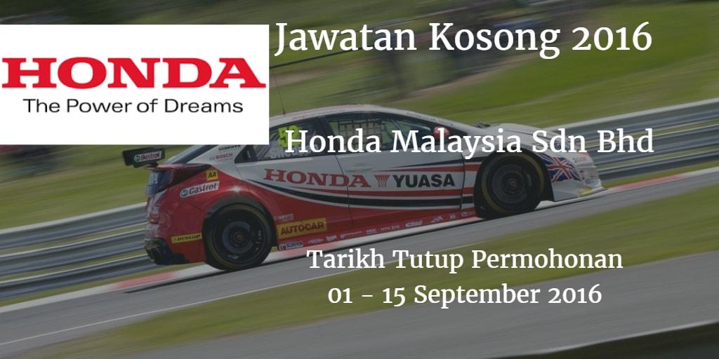 Jawatan Kosong Honda Malaysia Sdn Bhd 01- 15 September 2016