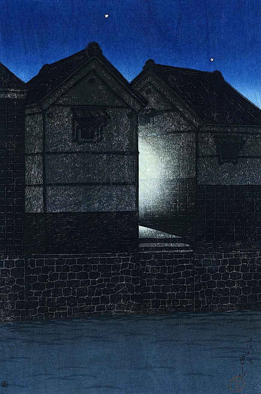 a Shukado print in color of a home at night