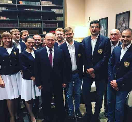 L'équipe d'échecs de Russie pour les Olympiades de Batoumi soutenue par Vladimir Poutine à Sotchi - Photo ©  Alexandra Kosteniuk