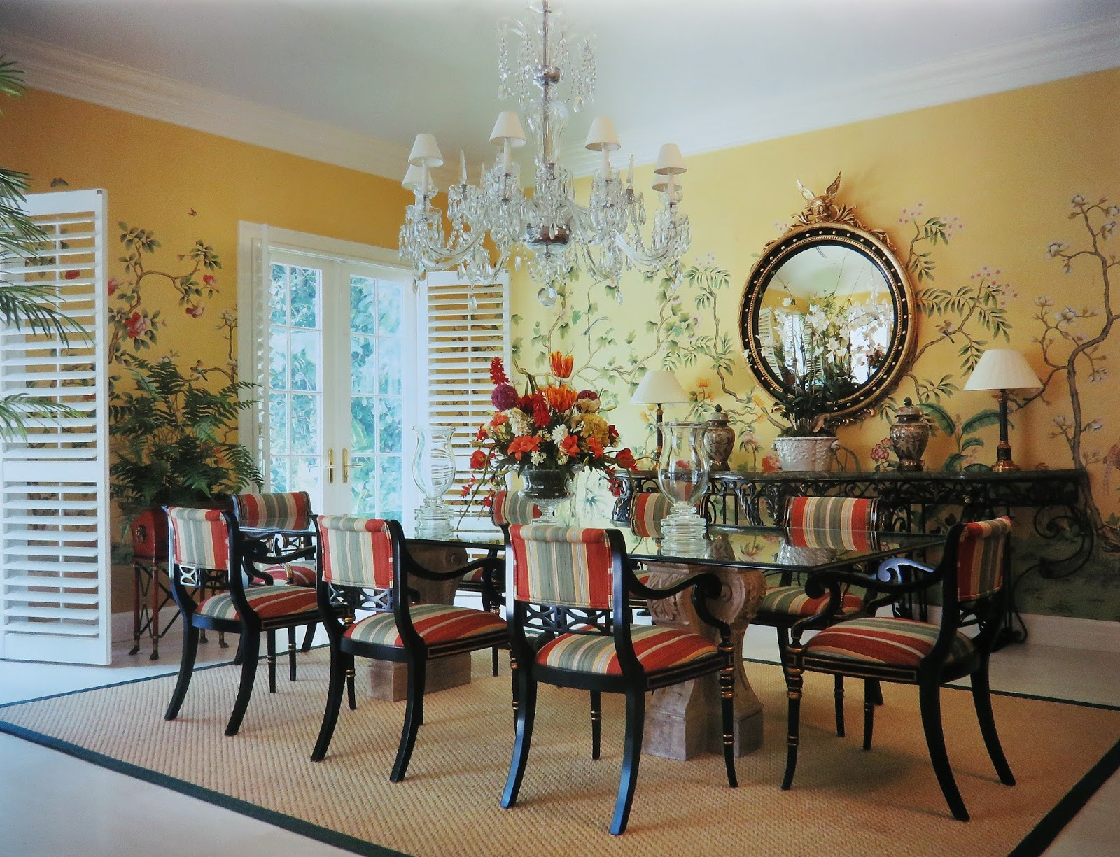 Except For Hand Painted Chinoiserie Wallpaper In The Dining Room!