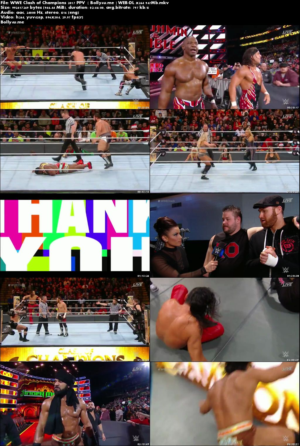 WWE Clash Of Champions PPV WEB-DL 950MB 17 December 2017 Download