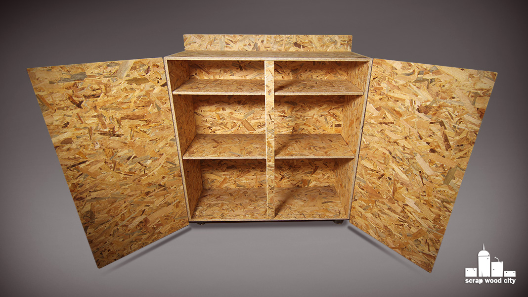 scrap wood city: Make a simple DIY rolling cabinet out of OSB