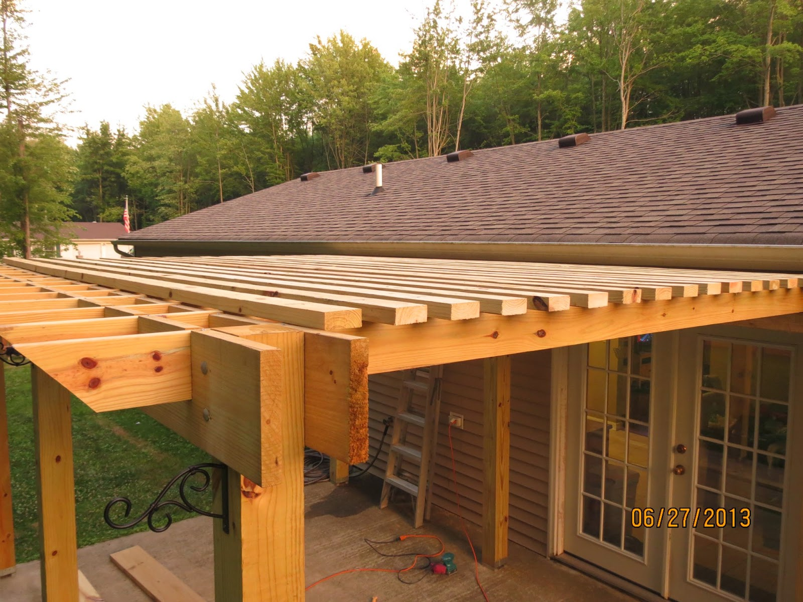 Simple Pergola Attached To House How To Build A Patio Cover With A Corrugated Metal Roof